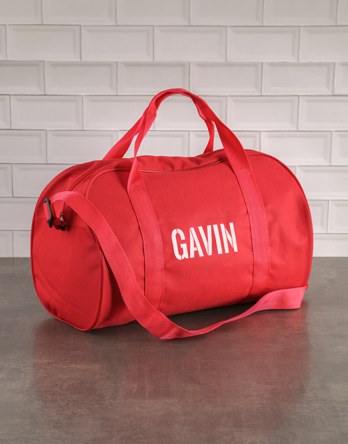christmas: Personalised Stencil Red Sports Bag!