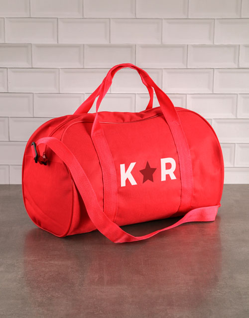 personalised: Personalised Star Initials Red Gym Bag!