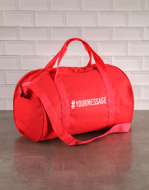 personalised: Personalised Hashtag Red Gym Bag!