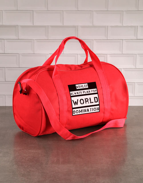 personalised: Personalised World Domination Red Sports Bag!