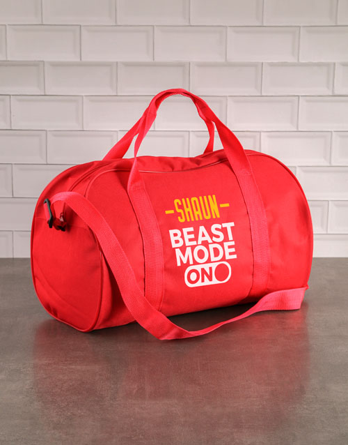 activewear: Personalised Beast Mode Red Sports Bag!