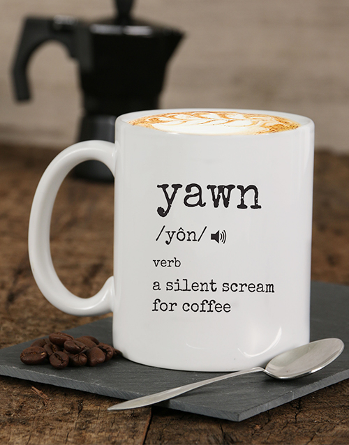 personalised: Personalised Yawn For Coffee Mug!