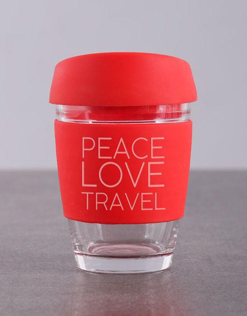 homeware: Personalised Peace Love Travel Kooshty Mug!