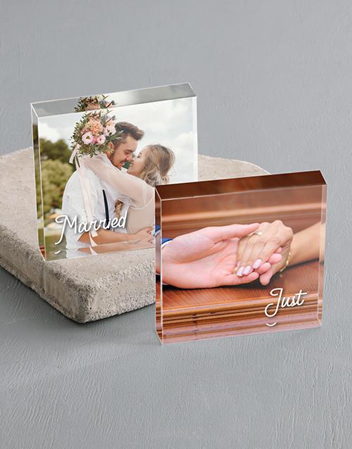 anniversary: Personalised Just Married Acrylic Photo Blocks!