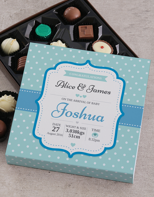 gifts: Personalised Baby Arrival Choc Tray!