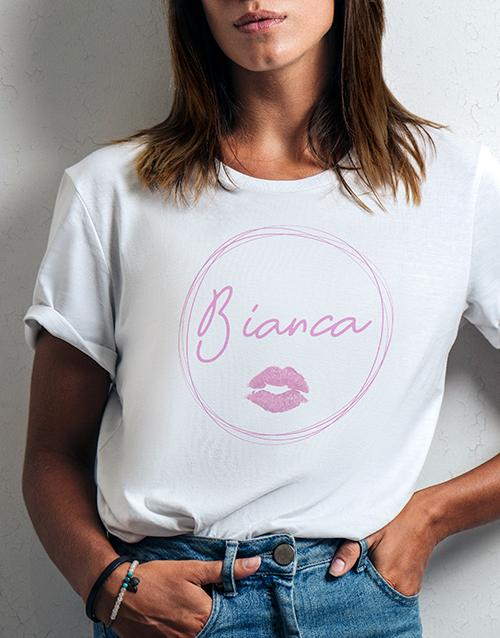 personalised: Personalised Kiss Print Ladies White Tshirt!