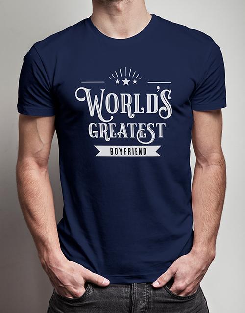 personalised: Personalised Worlds Greatest Boyfriend Navy Tshirt!