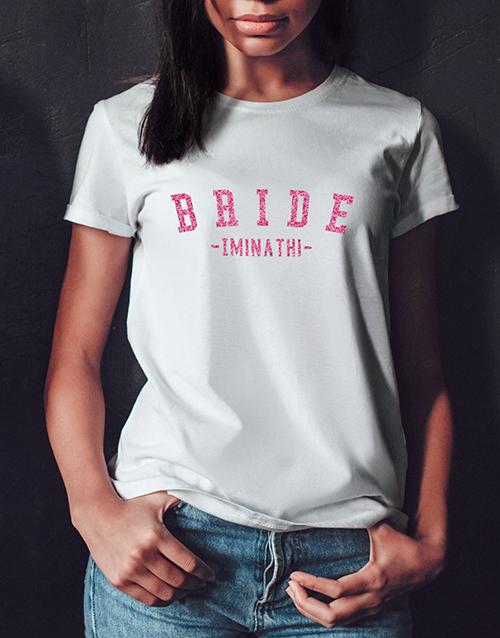 personalised: Personalised Glitter Bride White Tshirt!