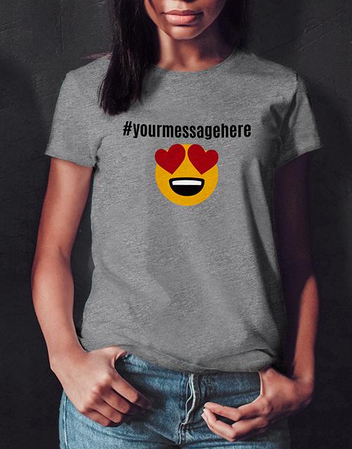 personalised: Personalised Heart Eyes Emoji Ladies White Tshirt!