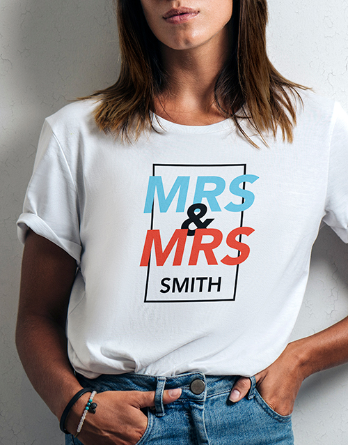 personalised: Personalised Mrs And Mrs White Tshirt!