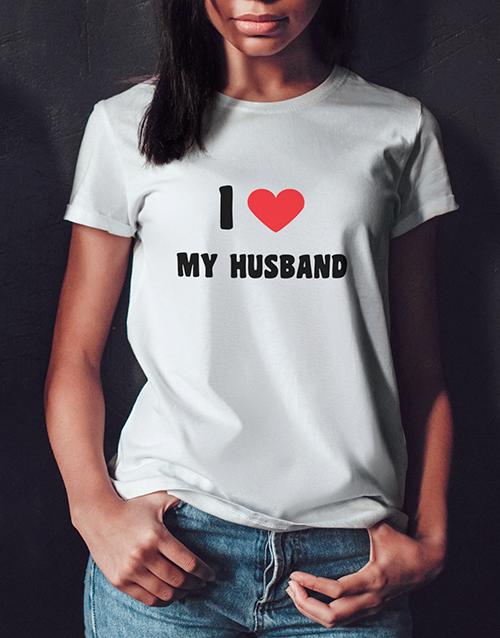 personalised: Personalised I Love My Husband White Tshirt!