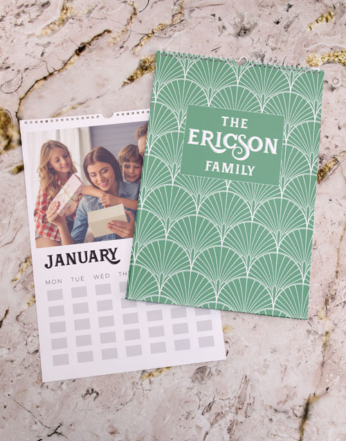 mothers-day: Personalised Green Family Wall Calendar !