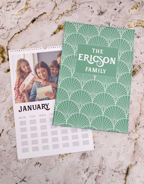 christmas: Personalised Green Family Wall Calendar !