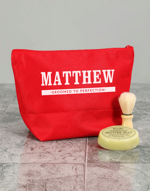 bath-and-body: Personalised Mens Grooming Red Wash Bag!