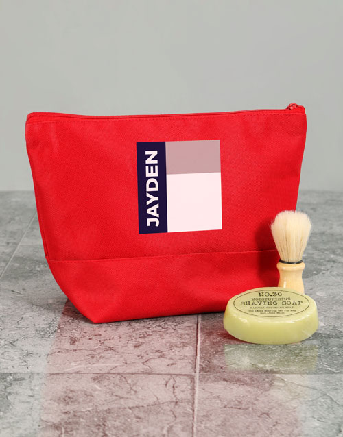 valentines-day: Personalised Mens Graphic Red Wash Bag!