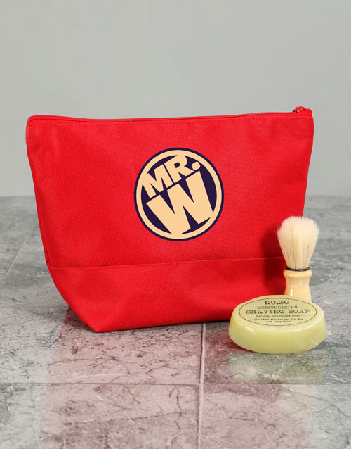 bath-and-body: Personalised Mens Mister Red Wash Bag!