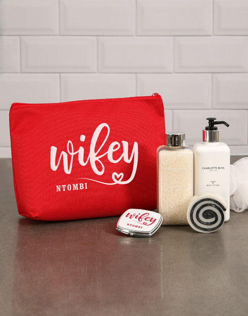 bath-and-body: Personalised Wifey Red Cosmetic Bag!