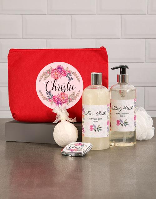 personalised: Personalised Floral Red Cosmetic Bag!