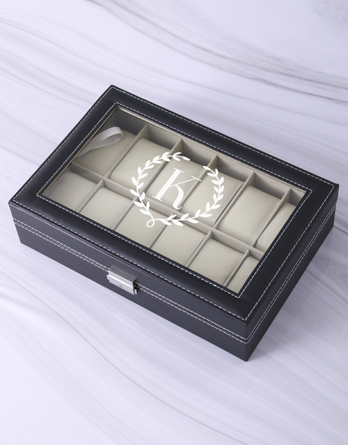 fathers-day: Personalised Wreath Monogram Watch Box!