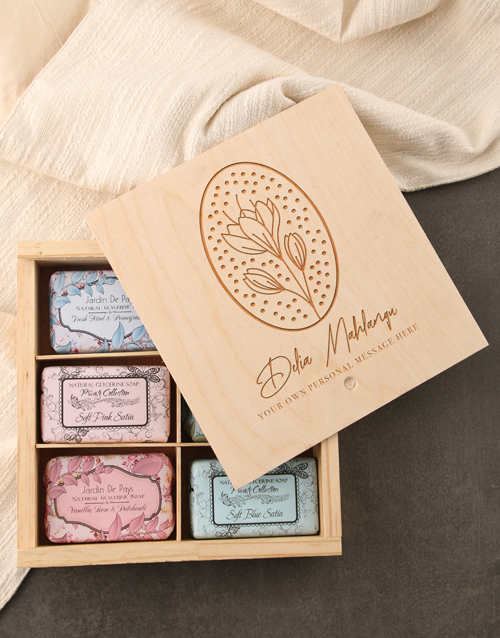 mothers-day: Personalised Chic Name Assorted Soaps Wooden Crate!