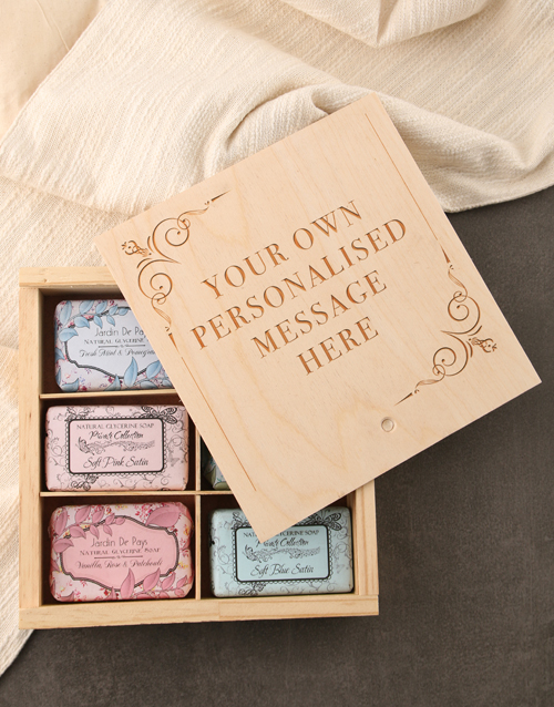 bosses-day: Personalised Message Assorted Soaps Wooden Crate!