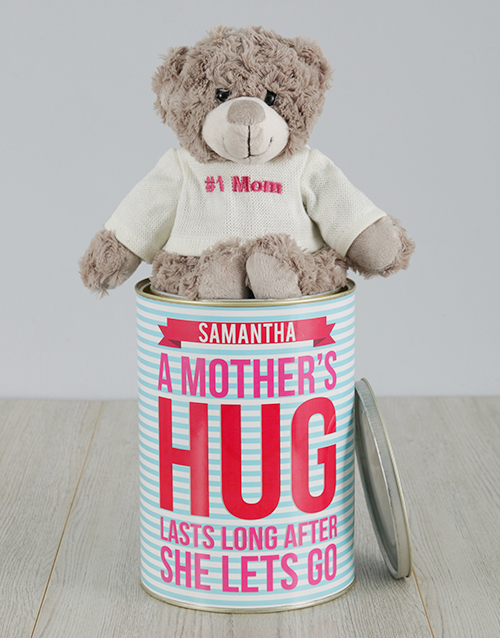 personalised: Personalised Mothers Hug Teddy Tin!