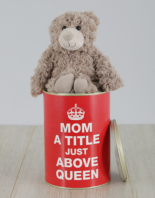 personalised: Personalised Mom Queen Teddy Tin!