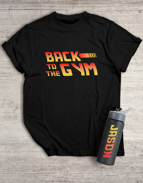 fathers-day: Personalised Back to the Gym T Shirt and Bottle!