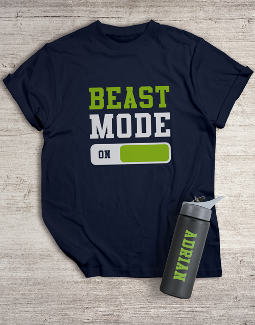 personalised: Personalised Beast Mode T Shirt and Water Bottle!