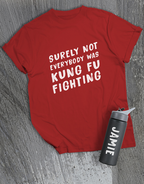 fathers-day: Personalised Kung Fu Fighting T Shirt and Bottle!
