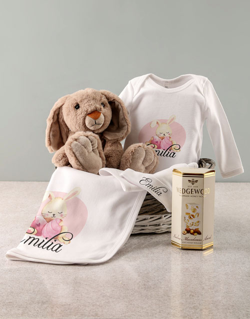 baby: Personalised Pink Bunny Baby Clothing Gift!