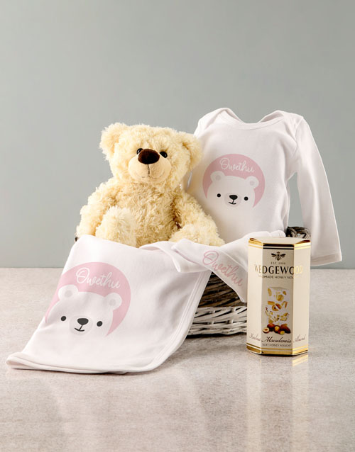 baby: Personalised Pink Bear Baby Clothing Gift!
