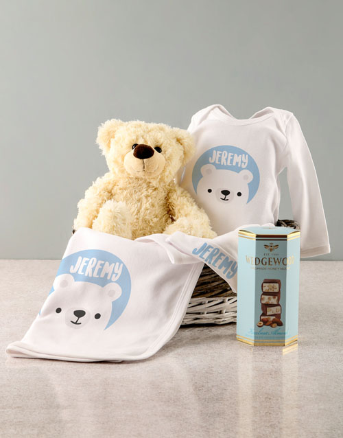 baby: Personalised Blue Bear Baby Clothing Gift!