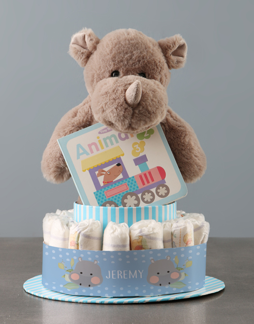 baby: Personalised Hippo Boy Banner Nappy Cake!