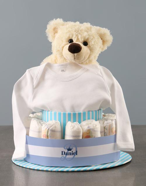 baby: Personalised Teddy Bear Boy Banner Nappy Cake!
