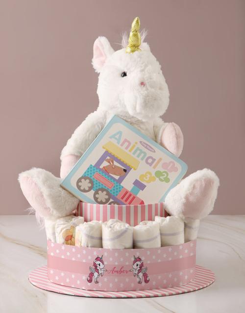 baby: Personalised Baby Girl Unicorn Nappy Cake!