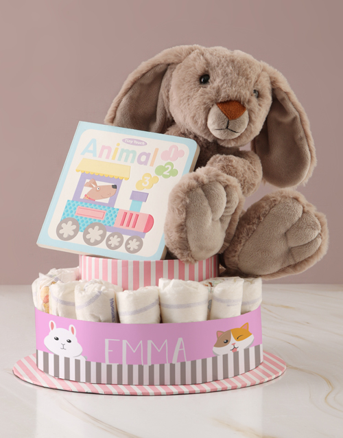 baby: Personalised Baby Girl Animal Book Nappy Cake!