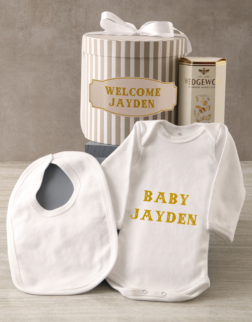 personalised: Personalised Blue Welcome Baby Clothing Hat Box !