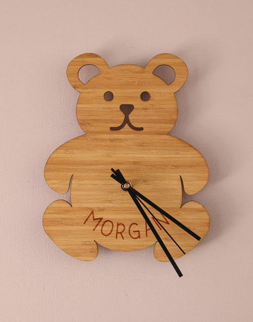 home-decor: Personalised Little Bear Baby Clock!