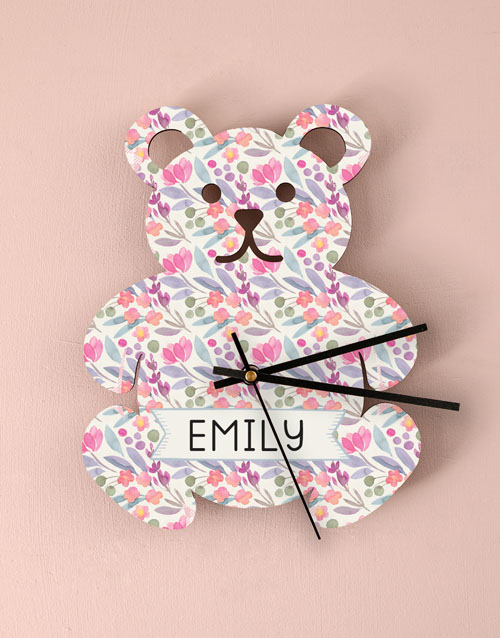 home-decor: Personalised Floral Baby Nursery Clock!