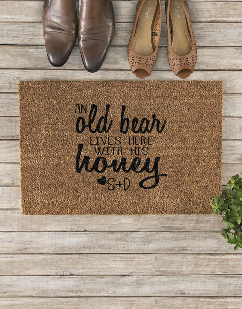 personalised: Personalised Old Bear And Honey Doormat!