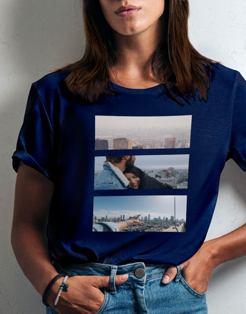clothing: Personalised Triptych Photo Ladies T Shirt!