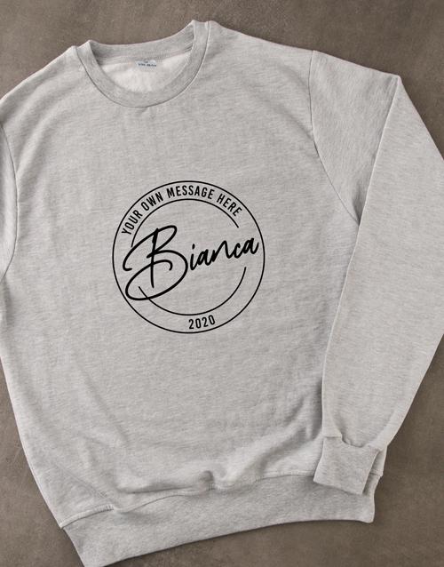 clothing: Personalised Stamp Grey Sweatshirt!