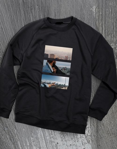 clothing: Personalised Photo Triptych Black  Sweatshirt!