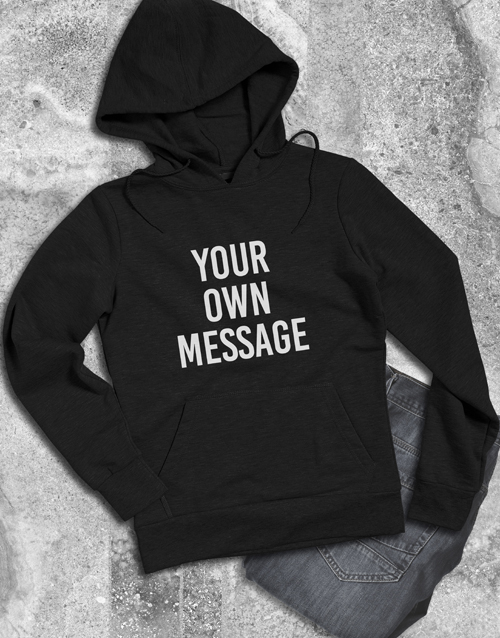clothing: Personalised Your Message Black Hoodie!