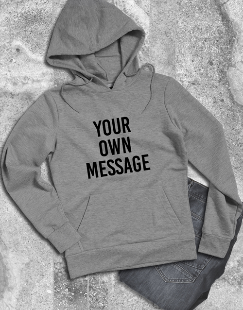 clothing: Personalised Your Message Grey Hoodie!