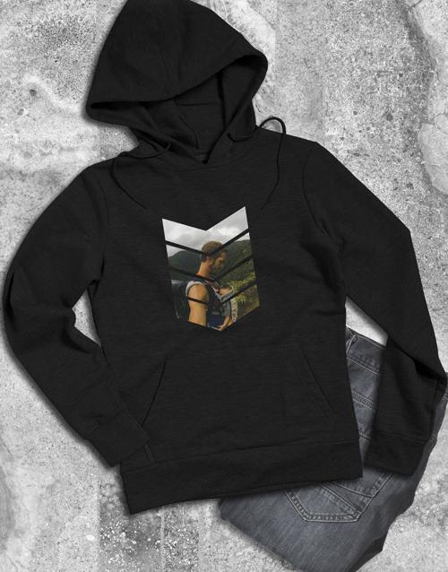 clothing: Personalised Pattern Photo Black Hoodie!