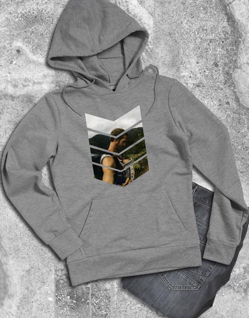 clothing: Personalised Pattern Photo Grey Hoodie!