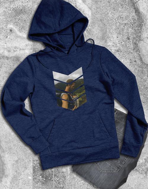 clothing: Personalised Pattern Photo Navy Hoodie!