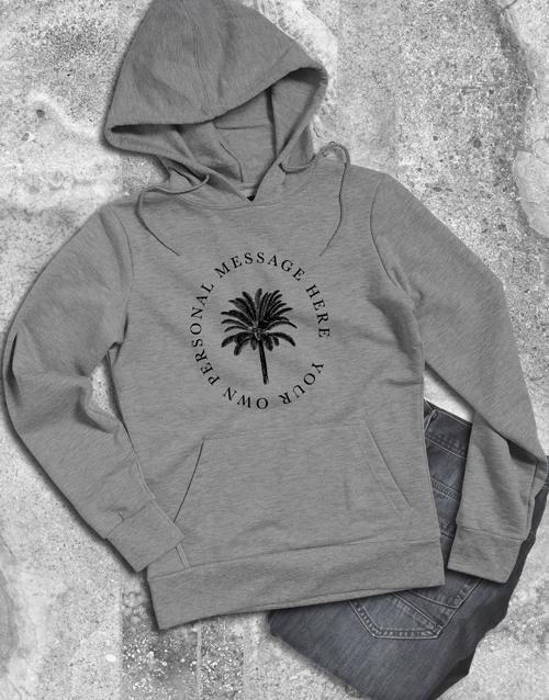 clothing: Personalised Palm Tree Grey Hoodie!